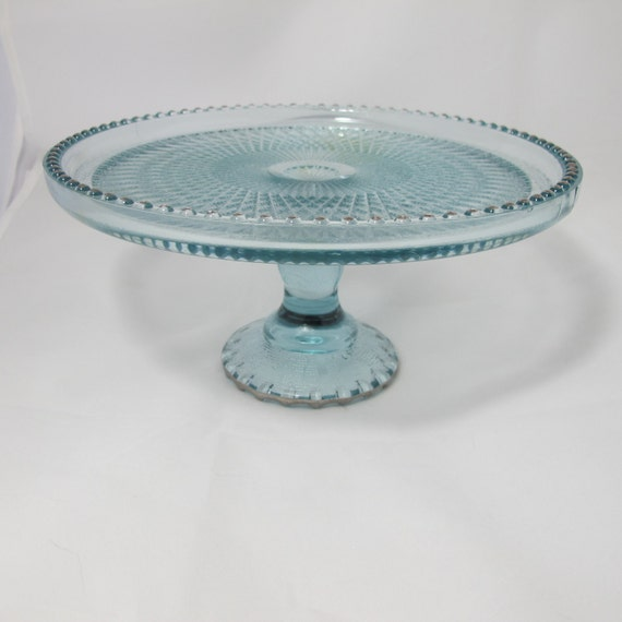 Vintage Pale Aqua Pressed Glass Cake Plate