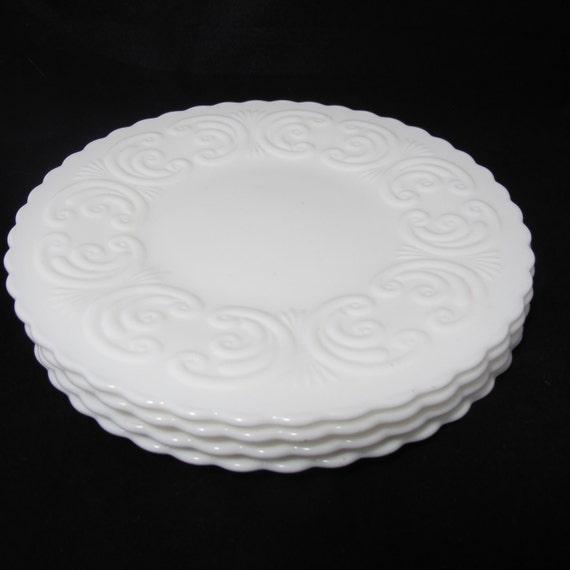Set of 4 Mini Milk Glass Cake Plates