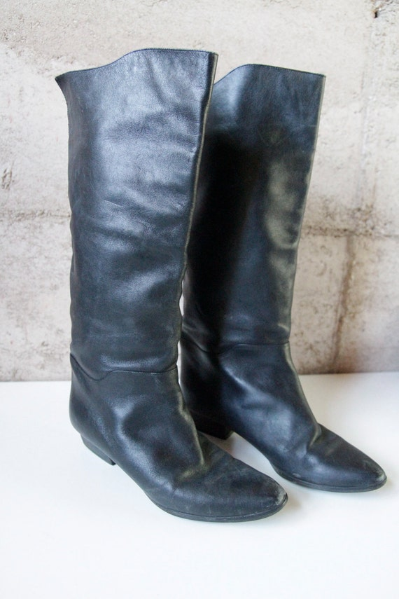 Womens size 7 BLACK LEATHER tall pirate ITALIAN boots