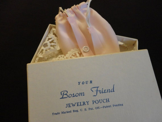 """VINTAGE Jewelry Pouch pale pink dacron called """"Your Bosom Friend"""" sold at """"Marshall Field & Co. original box and packaging"""