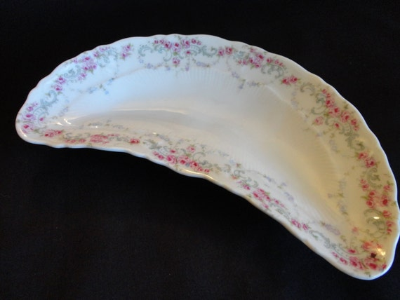 VINTAGE Bone Dish 1910s or 20s lovely white with garlands of pink roses  blue/gray design and tiny blue flowers