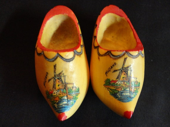 """VINTAGE Wooden Shoes miniature Dutch water scene with a Windmill marked """"Holland"""" red trim"""