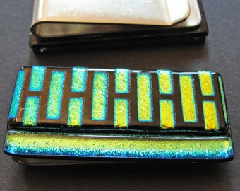 Dichroic Fused Glass Money Clip, Money Holder, Gifts for Him or Her, Pocket Accessories, Cash Holder, Gifts Under 30 Dollars, Gold and Black