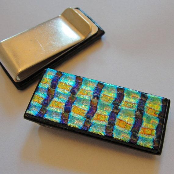 Reserve for Amanda - Dichroic Fused Glass Money Clip Men Women Accessories Jewelry Glass Art