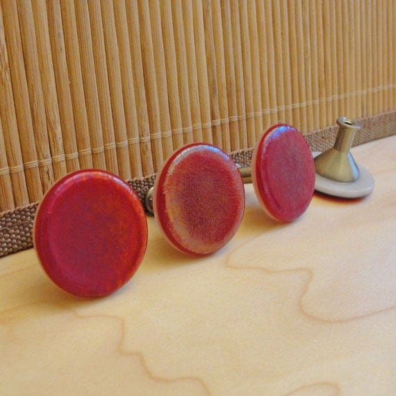 4 Iridescent Red Fused Glass Drawer Knobs - FREE shipping in the US