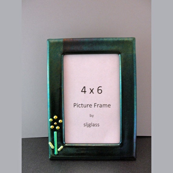 fused glass picture frame dichroic glass flower photo frame