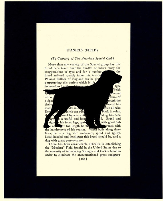 Hand-cut Field Spaniel Silhouette on Upcycled Book Page