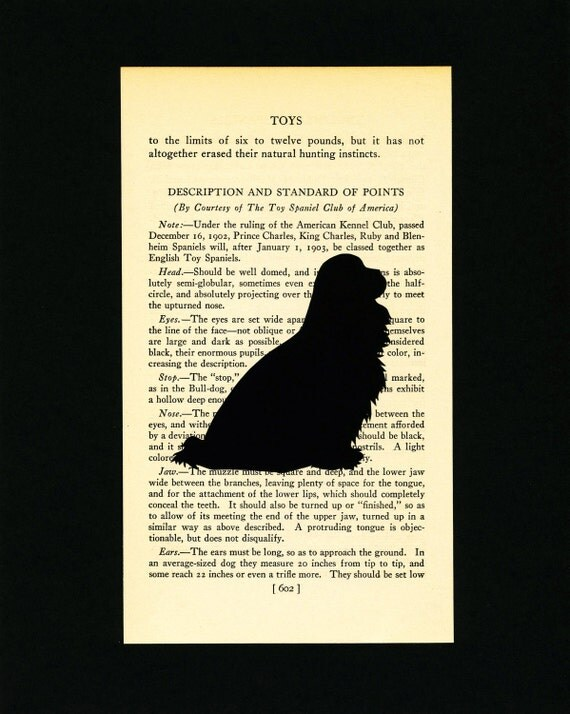 Cavalier King Charles Spaniel - Hand-cut Silhouette Mounted on Vintage Dog Book Page