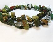 Crocheted Stone Beads Necklace or Cuff Chain Bracelet