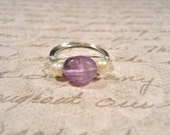 SALE: Amethyst Wire Wrapped Gemstone Ring with pearl bead accents, tarnish resistance silver copper wire, SIZE 6.5