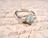Wire Wrapped Gemstone Ring, Moss Agate, tarnish resistance silver copper wire, SIZE 7
