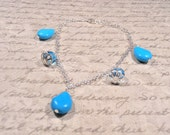 "Turquoise Crystal Bracelet ""Peace and Protection"" Gemstones with Crystal Accents"