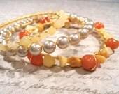 "Gemstone Bangle Bracelet Set Golden Quartz & Red Aventurine ""CREATIVITY"" Gemstones Wire Wrapped Bangle Bracelets with gold toned wire"