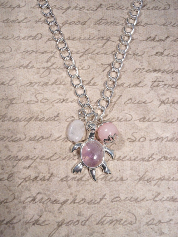 Fertility Necklace and Pregnancy Necklace with gemstones to enhance fertility and pregnancy: Moonstone, Rose Quartz, Amethyst