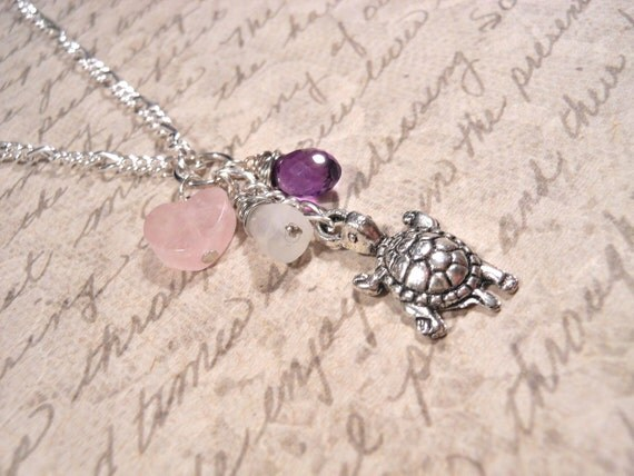 Fertility Necklace & Pregnancy Necklace, Moonstone, Rose Quartz, Amethyst with Turtle Charm and FREE Affirmation Cards