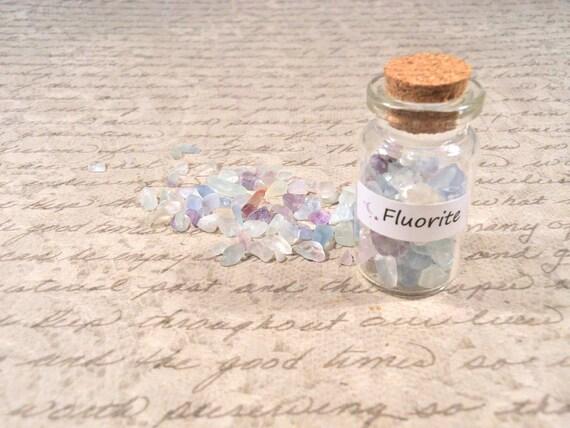 "FLUORITE Corked Bottle of loose Rainbow Fluorite Gemstones, ""Aura Cleansing, Balance, Spiritual Wholeness"" natural gemstones"
