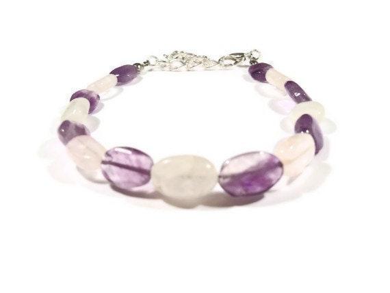 Fertility Bracelet and Pregnancy Bracelet with gemstones: Moonstone, Rose Quartz, Amethyst w/FREE Affirmation Cards
