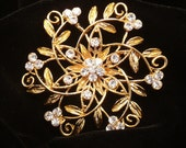 Bridal Brooch Pin Wedding Hair Comb Clip Headpiece Gold Rhinestones Cake Brooch