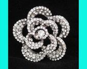 Bridal Hair Brooch, Cake Brooch, Wedding Hair Comb - Silver Rhinestone Floral Design.