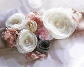 Rachel Bridal Sash Wedding Belt Flowers Ivory Pink Taupe Pearls Rhinestones