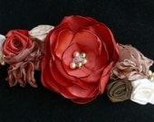 April Bridal Sash Floral Wedding Belt Flower Burnt Orange Ivory Copper Taupe Pearls International Shipping