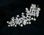 Bridal Brooch Wedding Pin Hair Comb CZ Rhinestone Gold Leaf