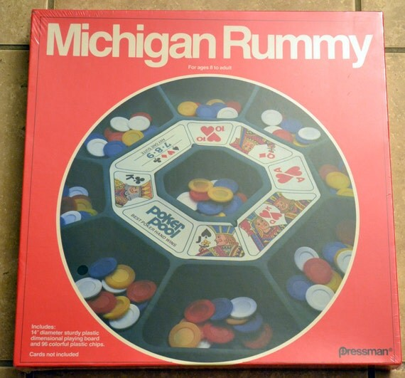 Michigan Rummy Game, Vintage 1980 Board Game Pressman, Still New Factory Sealed