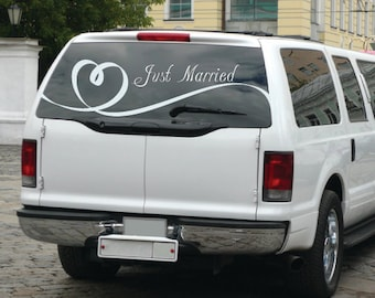 Elegant Just Married with Heart Ribbon Decal for Getaway Car