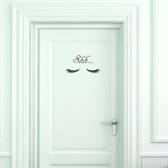 Shh Closed Eyes Vinyl Wall Decal Small Door Size