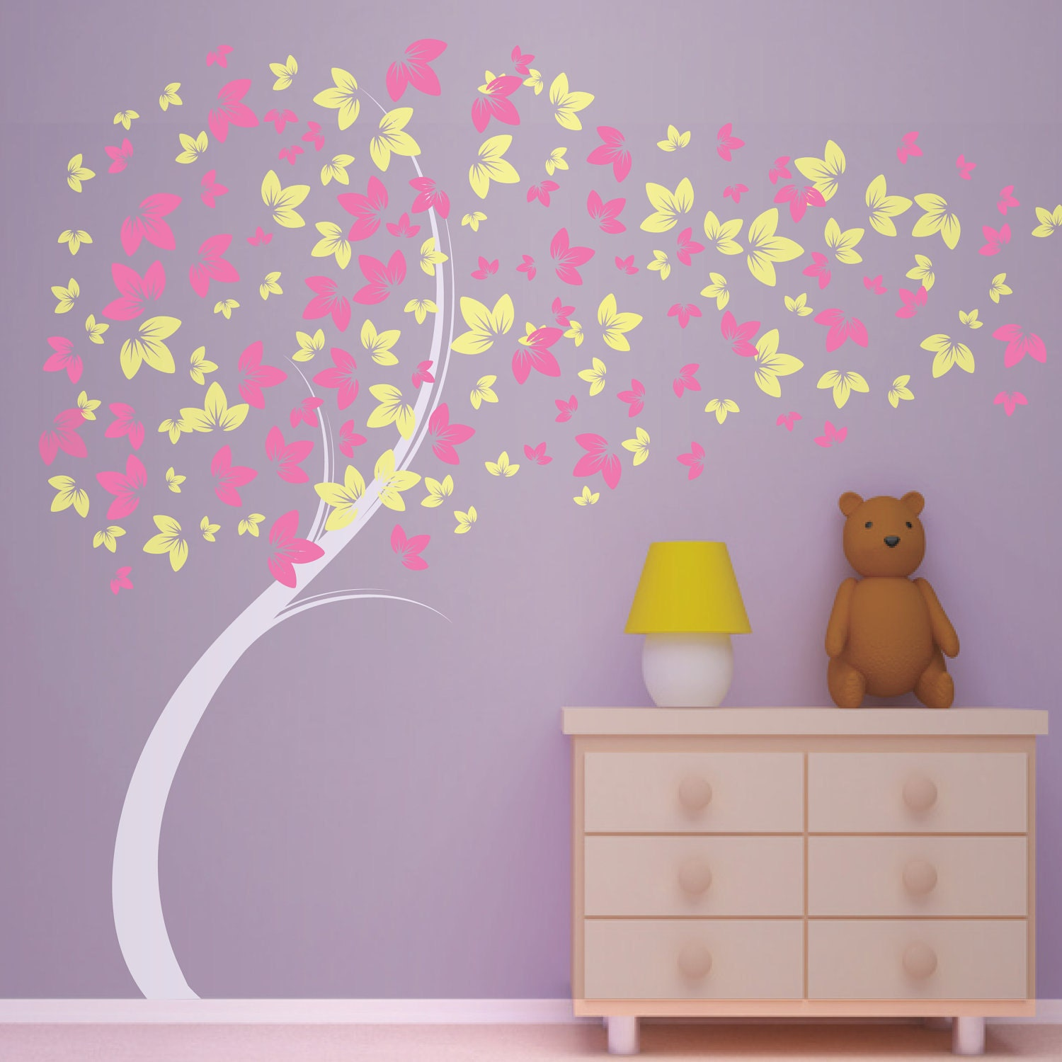 Curvy Blowing Tree Vinyl Wall Decal Great For Little