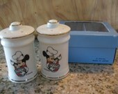 Disney Vintage Mickey Mouse Chef  Salt and Pepper Shakers- Mint in Box