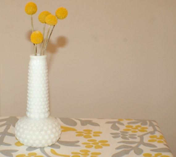Vintage white milk glass bumpy bud vase