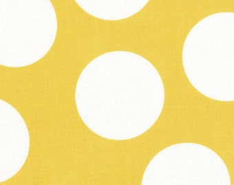 Yellow and White Large Polka Dot Patterned Fabric - Half Moon Modern by Moda 1/2 Yard