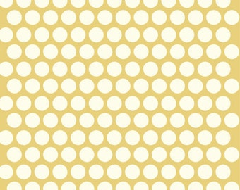 Organic Yellow Polka Dot Fabric - Birch Dottie 1 Yard