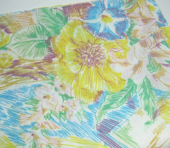 Bright, Abstract Floral Fabric - Recycled Bed Sheet One Yard