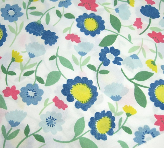 Blue, Pink, Yellow and Green Floral Fabric - Recycled Bed Sheet One Yard