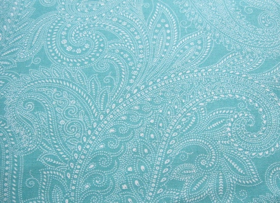 Teal and white paisley patterned fabric half moon modern by for Moon pattern fabric