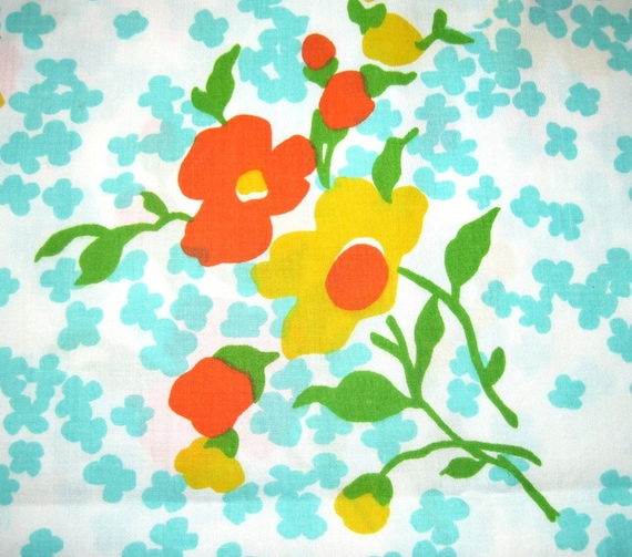Orange, Yellow and Blue Floral Fabric - Recycled Pillowcase Fat Quarter