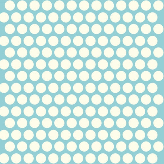 Organic Aqua Polka Dot Fabric - Birch Dottie 20 Inches - End of Bolt