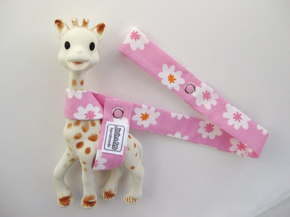 Toy Leash Tether Strap for Sophie The Giraffe & other toys -- Pink with White Flowers