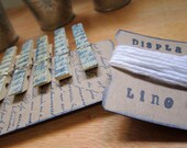 Display line French script bamboo clips twine hooks 6 clips vintage wedding white displaying art shabby chic wedding vintage french