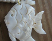 Sale-Carved Shell Angelfish Pendant Beaded Necklace