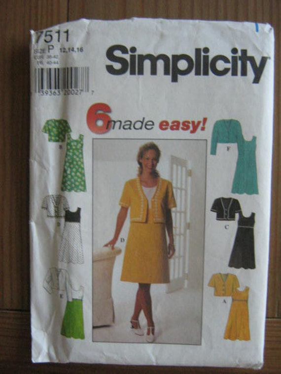 Simplicity 7511 Size P 12, 14, 16 Women's Dress Pattern