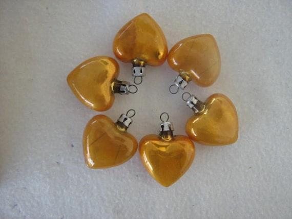 Vintage Lot 6 Gold Glass Heart Ornaments Poland