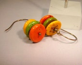 Spring Is In The Air Beaded Pierce Earring.Green, Orange and Yellow Coral Coin Beads  CKDesigns.us