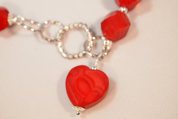 Red Heart Necklace. Silver and Glass Beaded Necklace.