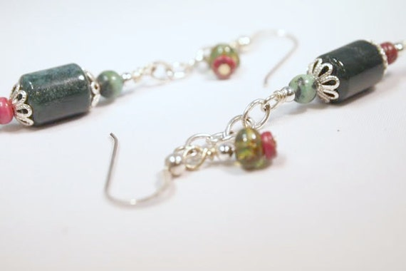 SALE Jasper and Chain Beaded Dangle Pierced Earrings. CKDesigns.us