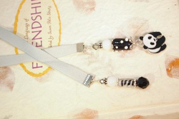 Panda Bear Bookmark. Grey Ribbon, Glass Beads, Lampwork Beads and Silver Beaded Charm Ribbon Bookmark. CK Designs