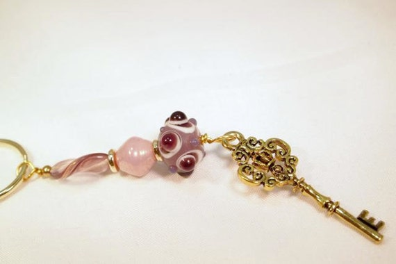 Lampwork Bead Key Ring, Key Charm and Glass Beaded Key Chain. CKDesigns.us