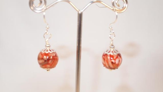 Red And Ivory Shell Beads, Silver Tone Dangling Beaded Pierced Earring.  CKDesigns.us